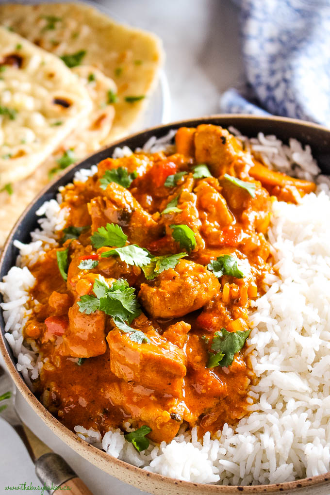 dairy free butter chicken with rice and cilantro