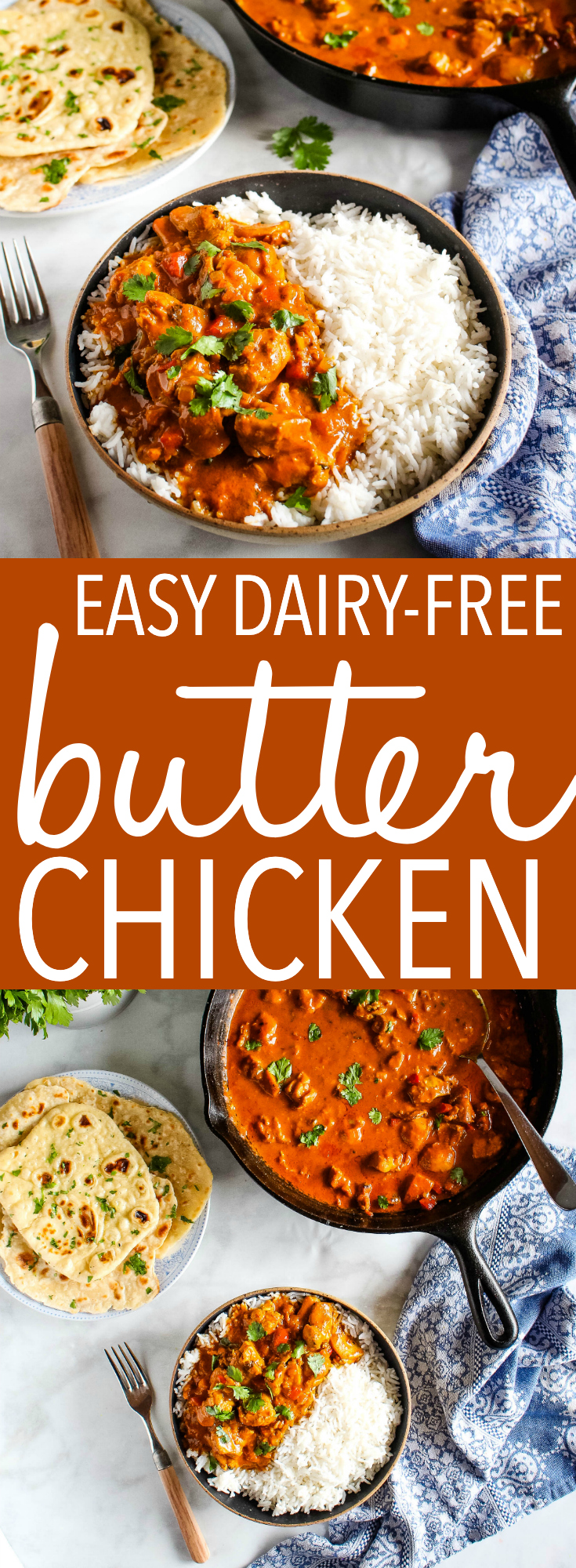 This Easy Dairy-Free Butter Chicken is the perfect Indian-style easy weeknight meal with no dairy! Healthy ingredients & better than take-out! Recipe from thebusybaker.ca! #butterchicken #dairyfree #takeout #restaurant #Indianfood #homemade #healthy #familymeal #weeknightmeal via @busybakerblog