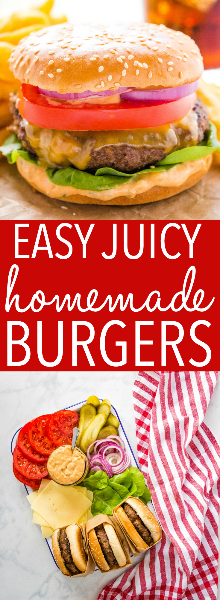 These Easy Juicy Homemade Burgers are tender, meaty, juicy, & SO easy to make with just a few basic ingredients! Plus pro tips for perfect homemade burgers! Recipe from thebusybaker.ca! #burgers #perfectburgers #protips #homemade #grilling #hamburgers #summer via @busybakerblog