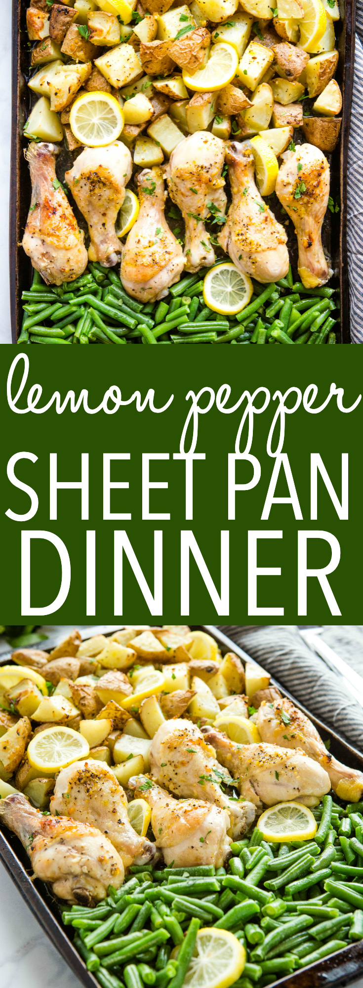 This Easy Lemon Pepper Sheet Pan Dinner is the perfect weeknight meal idea for busy families made all on one pan - juicy chicken, tender potatoes and green beans, bursting with lemon pepper flavour!Recipe from thebusybaker.ca! #chicken #lemonpepper #greenbeans #potatoes #sheetpandinner #onepot #weeknightmeal #easydinner #familymeal via @busybakerblog