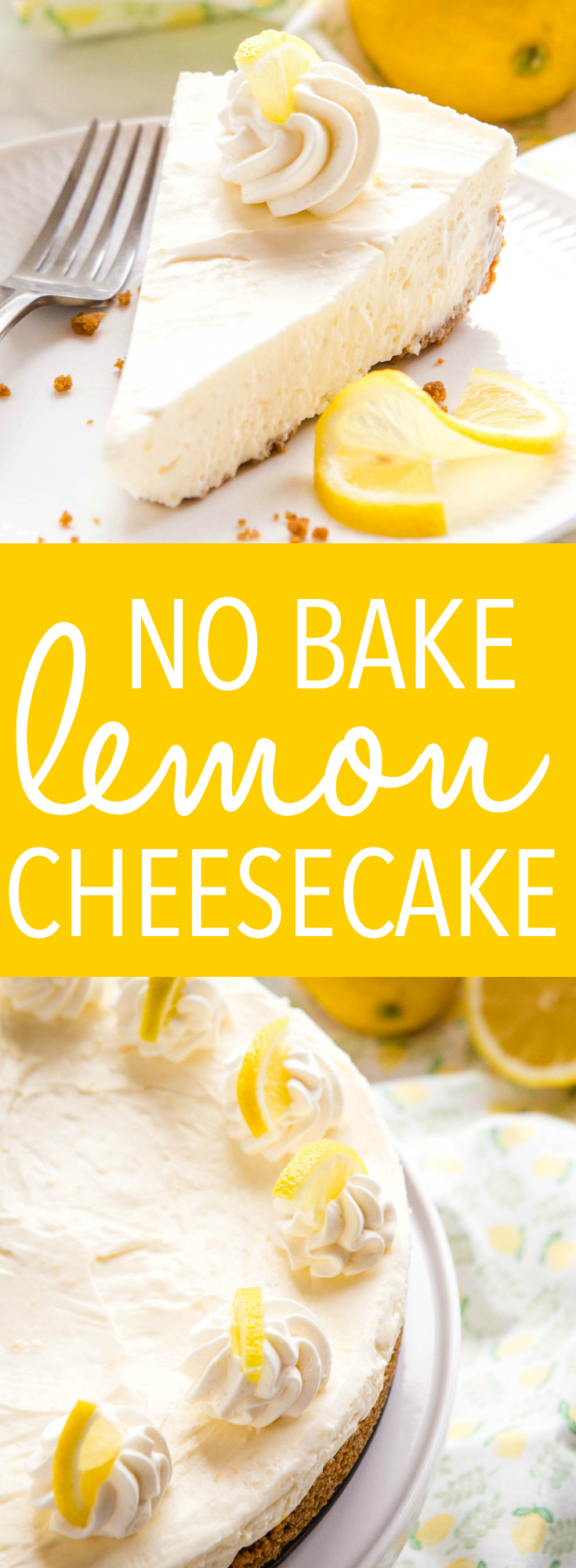 This Easy No Bake Lemon Cheesecake is the perfect easy-to-make cheesecake dessert that's ultra creamy, silky smooth and delicious and packed with fresh lemon! Recipe from thebusybaker.ca! #lemon #cheesecake #dessert #nobake #easydessert #summer via @busybakerblog