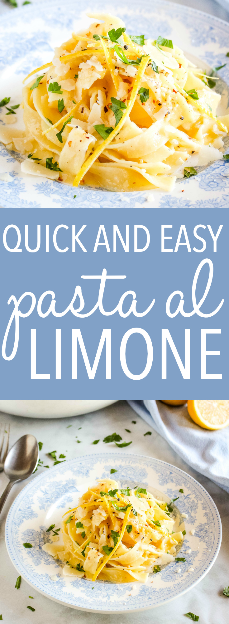This Quick and Easy Pasta al Limone is a simple restaurant-quality weeknight meal with bright, simple flavours. Made with fresh lemons, butter and Parmesan cheese. Recipe from thebusybaker.ca! #lemon #pasta #italian #pastaallimone #homemade #restaurantquality #italy via @busybakerblog