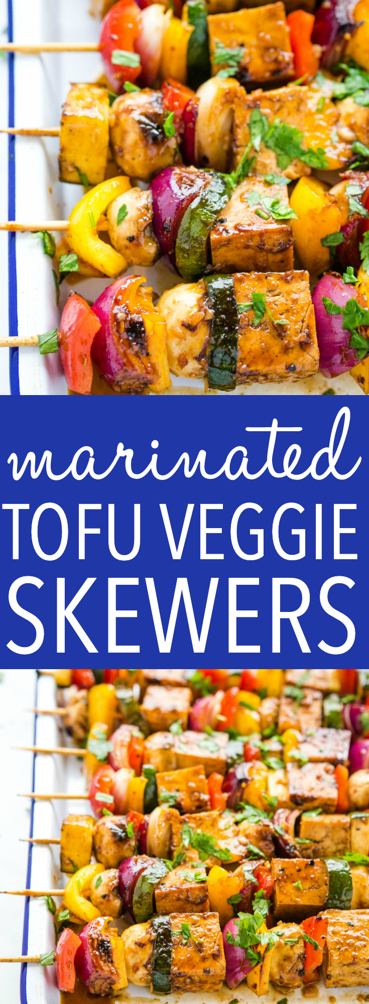 These Marinated Tofu Veggie Skewers are the perfect vegan main dish for summer! Tofu in a simple savoury marinade with fresh veggies - a healthy choice for summer entertaining!  Recipe from thebusybaker.ca! #tofu #vegan #veggies #maindish #grilling #vegangrilling #summer #healthy via @busybakerblog