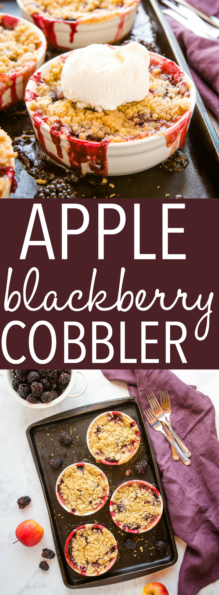 This Apple Blackberry Crumble is the perfect single-serving dessert made with fresh blackberries and apples and a sweet crumble topping.Recipe from thebusybaker.ca! #apple #blackberry #crumble #crisp #fruit #dessert #fruitcrumble #summer #sweet #homemade via @busybakerblog