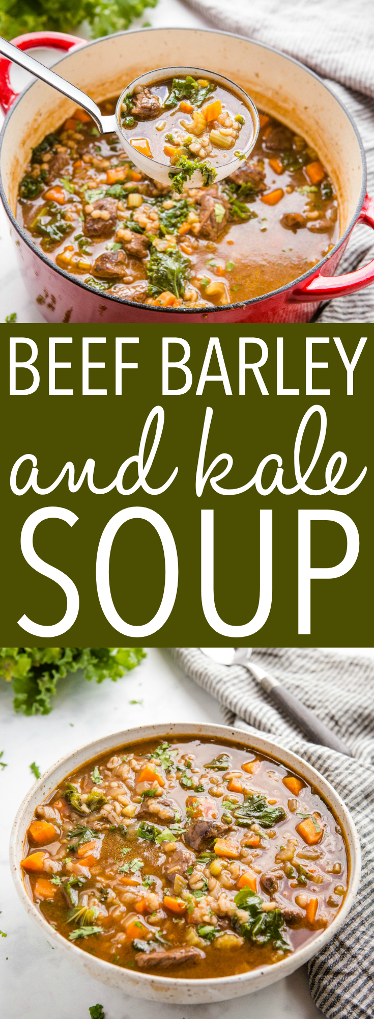 This Beef Barley Soup with Kale is the perfect warm and comforting soup made with tender beef, fresh veggies and barley - so easy to make in one pot! Recipe from thebusybaker.ca! #kale #beefbarleysoup #fallsoup #homemadesoup #fall #winter #comfortfood #homemade #homesteading via @busybakerblog