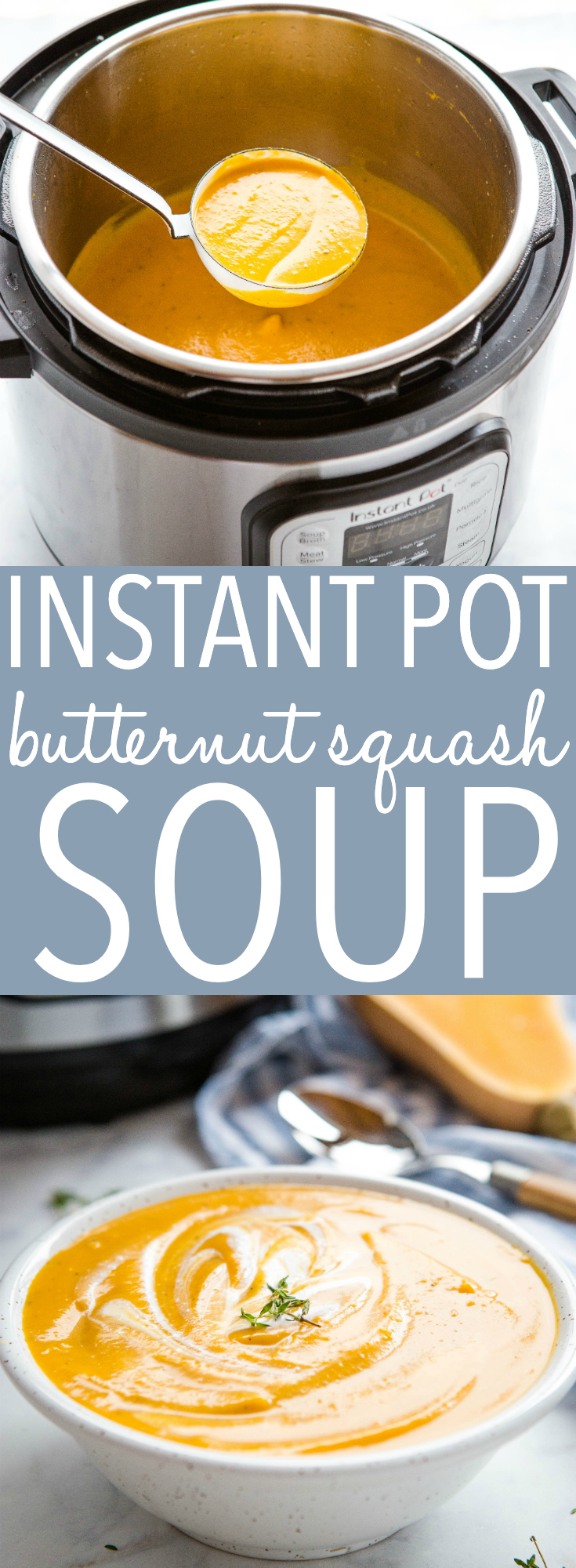 This Instant Pot Creamy Butternut Squash Soup is a delicious comforting soup that's deliciously vegan and dairy-free! On the table in 35 minutes or less! Recipe from thebusybaker.ca! #recipe #instantpot #butternutsquash #soup #instantpotsoup #fast #easy #familymeal #vegan #dairyfree via @busybakerblog