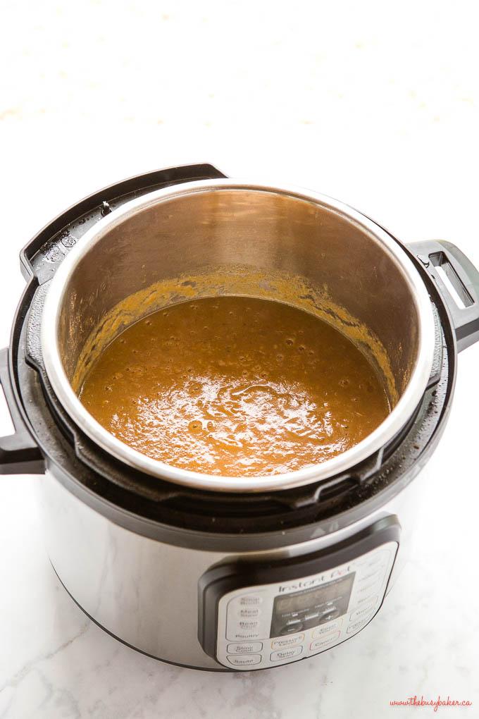 instant pot full of homemade applesauce
