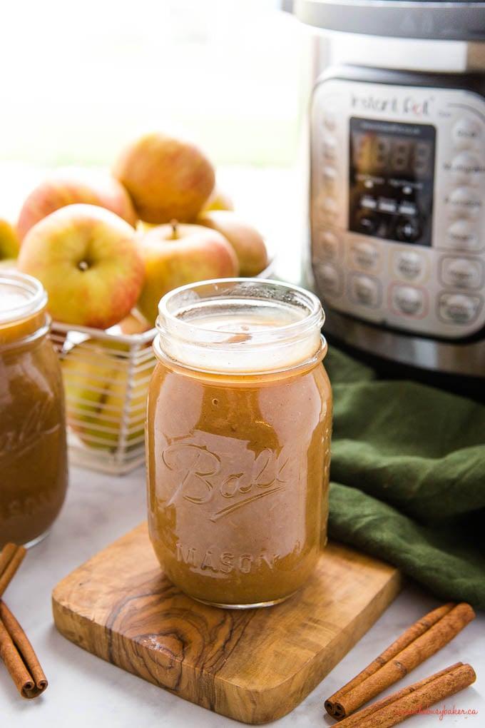mason jar with homemade applesauce