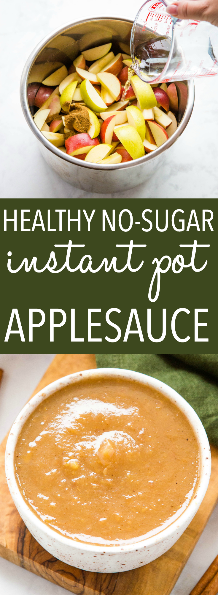 This Healthy Instant Pot Applesauce is the easiest homemade applesauce recipe you'll ever make with only 2 ingredients! Ready in 20 minutes and no sugar added! Recipe from thebusybaker.ca! #applesauce #apples #instantpot #pressurecooker #harvest #homemade via @busybakerblog
