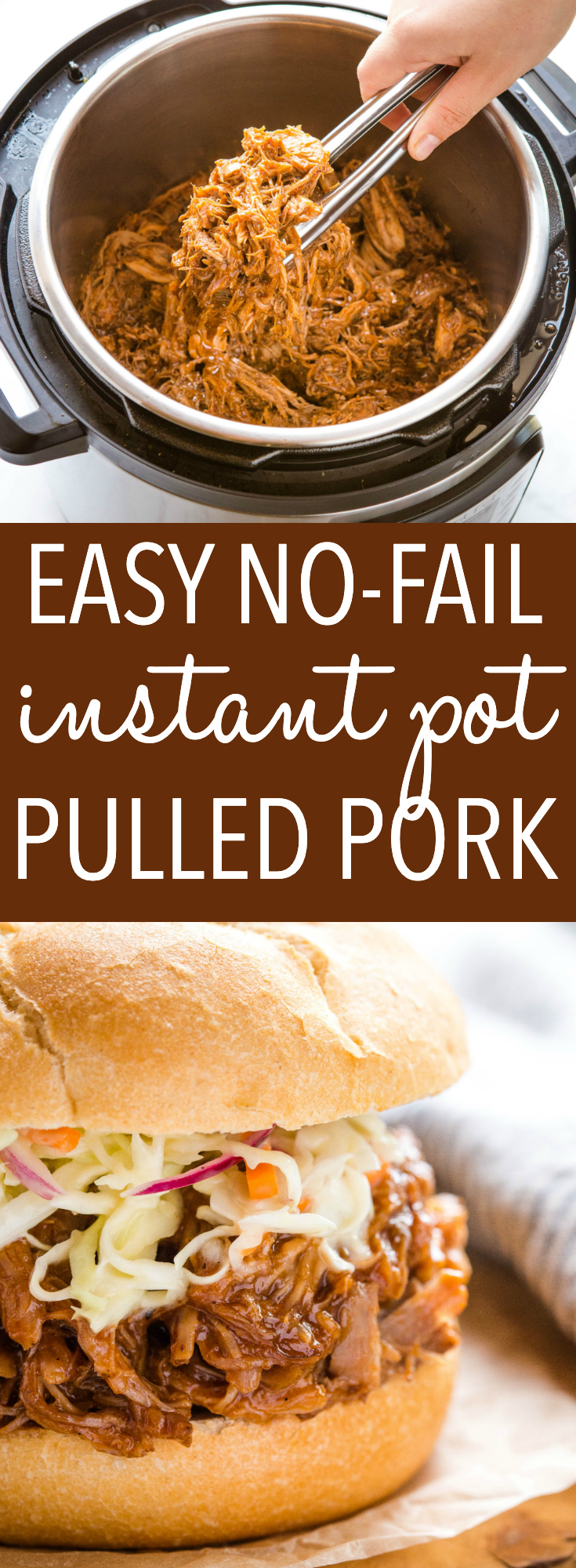 This Easy Instant Pot Pulled Pork is a simple version of classic barbecue pulled pork - juicy & flavourful, made in only one hour! Recipe from thebusybaker.ca! #pulledpork #sandwiches #barbecue #dinner #weeknightmeal via @busybakerblog