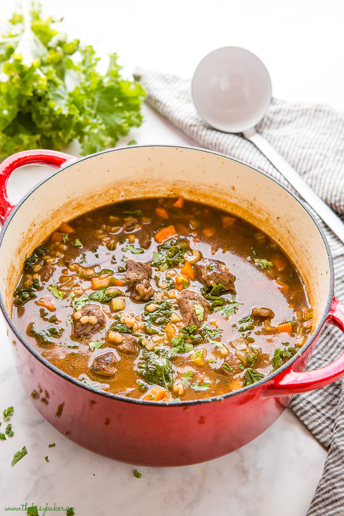 beef soup with barley kale and carrots in red cast iron pot