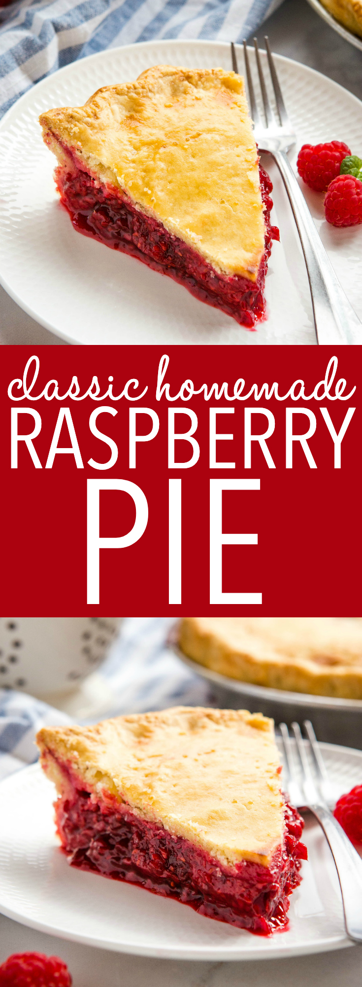 This Classic Raspberry Pie is the perfect summer dessert recipe made with an all-butter crust & fresh raspberries - with 10 Pro Tips for the perfect pie! Recipe from thebusybaker.ca! #raspberrypie #homemadepie #raspberry #baking #dessert #homesteading via @busybakerblog