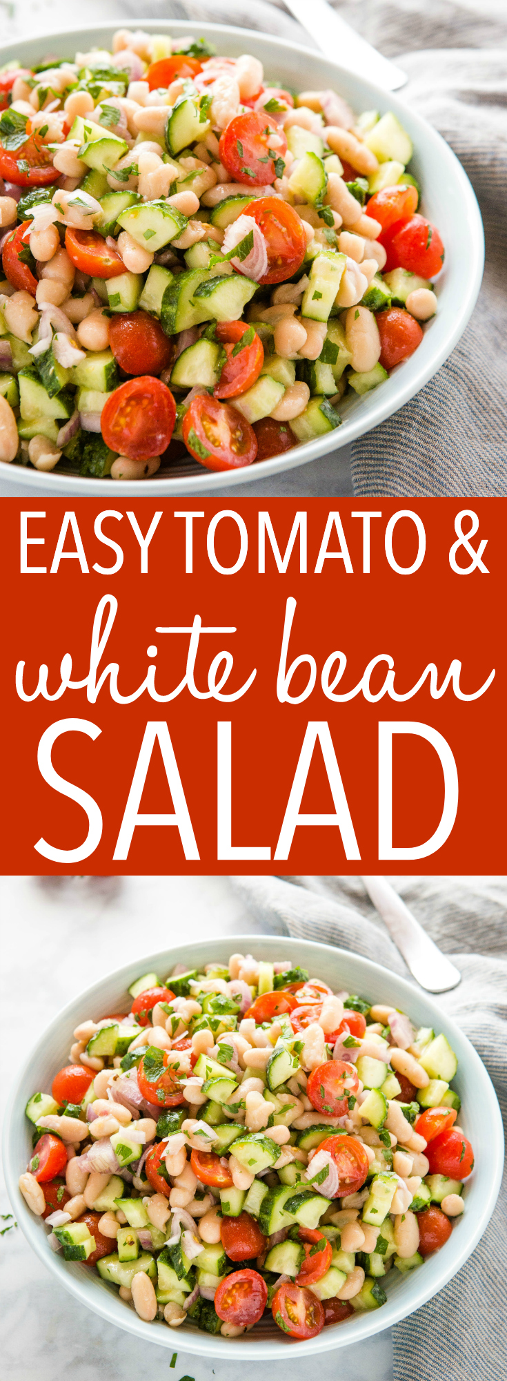 This White Bean Salad with Tomatoes is the perfect fresh salad that's packed with veggies and protein! Healthy and vegetarian! Recipe from thebusybaker.ca! #salad #protein #healthyeating #whitebeans #italian #vegetarian #vegan #health #weightloss via @busybakerblog