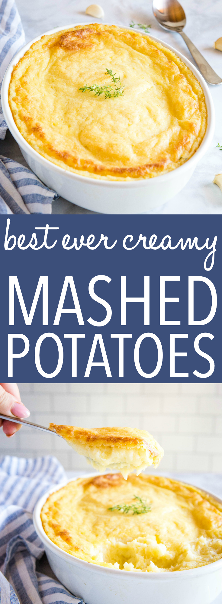 These Best Ever Creamy Mashed Potatoes are a family favourite recipe that's perfect for the holidays! Simple mashed potatoes baked to creamy perfection with butter and cream cheese! Recipe from thebusybaker.ca! #creamy #mashedpotatoes #sidedish #holidays #christmas #thanksgiving #creamcheese #baked #family #entertaining via @busybakerblog