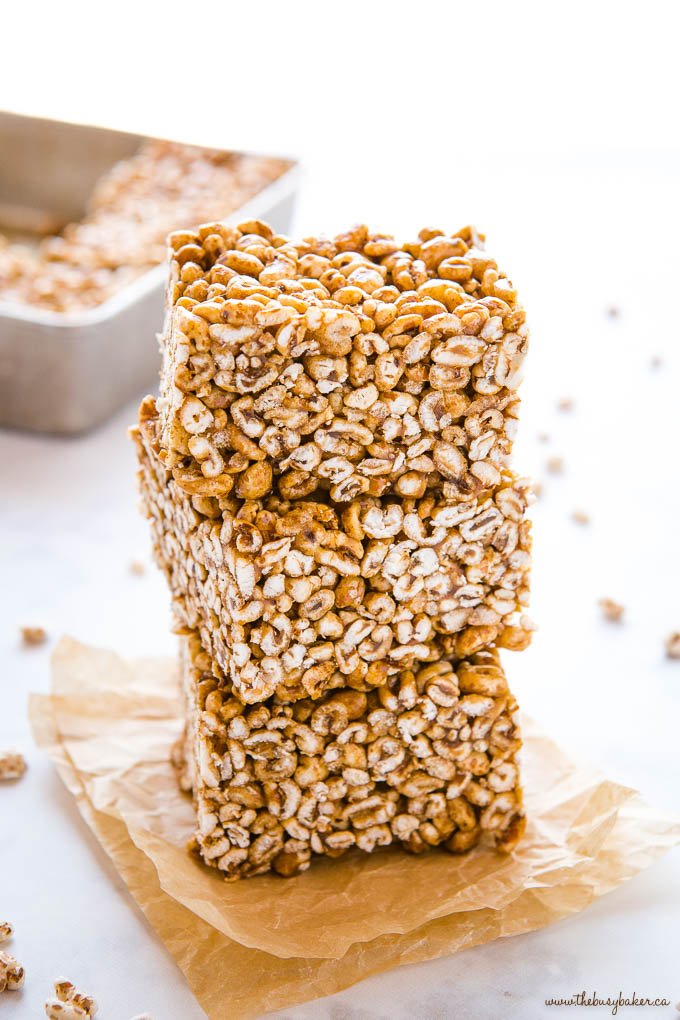 stack of 3 pieces of puffed wheat cake