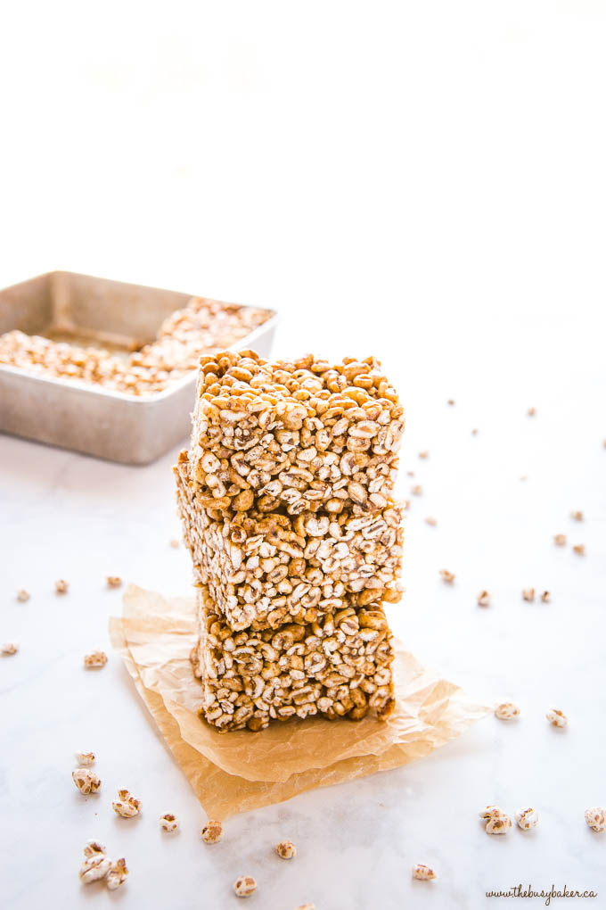 stack of 3 puffed wheat squares