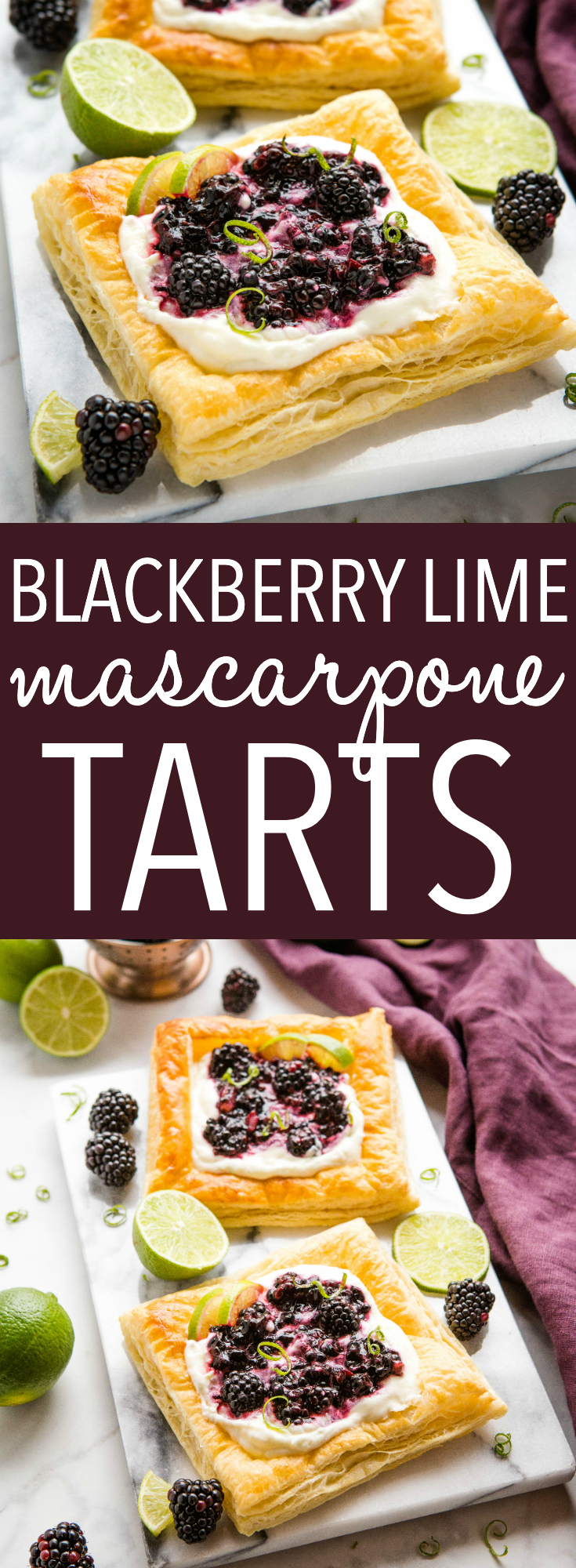 These Blackberry Lime Mascarpone Tarts are light-tasting, citrusy and sweet, and a delightful treat that's perfect for breakfast, brunch or even dessert. They're easy to make and feature a creamy and delicious filling with fresh, juicy blackberries! Recipe from thebusybaker.ca! #tarts #danish #brunch #breakfast #blackberries #lime #dessert #puffpastry via @busybakerblog