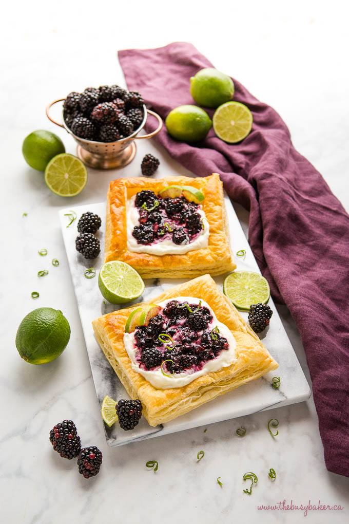 blackberry lime danishes on a marble slab