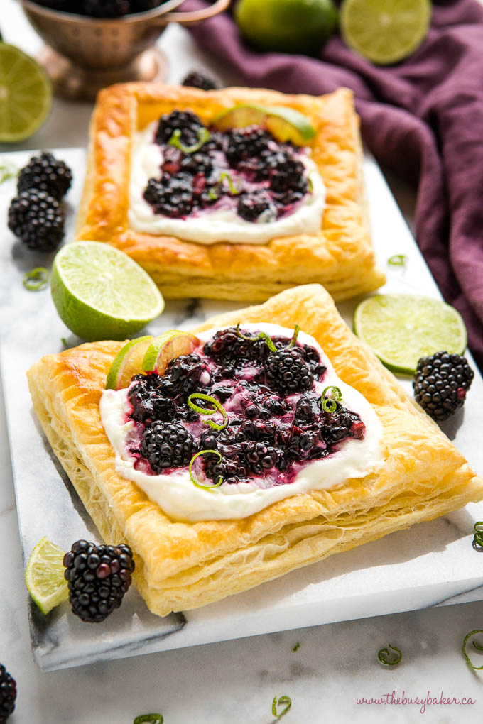 puff pastry danish with mascarpone filling, lime zest and fresh juicy blackberries
