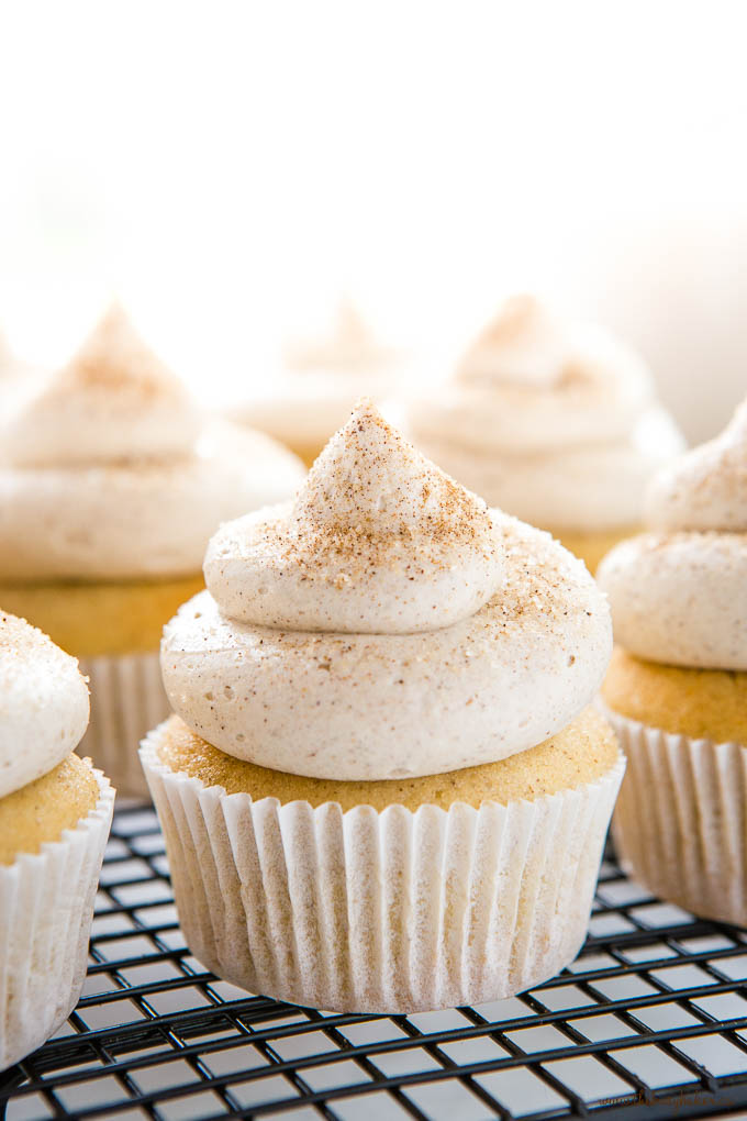 light and airy photo of cinnamon chai cupcakes