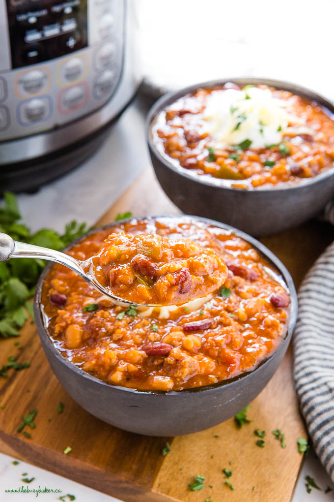 spoonful of beef and bean chili
