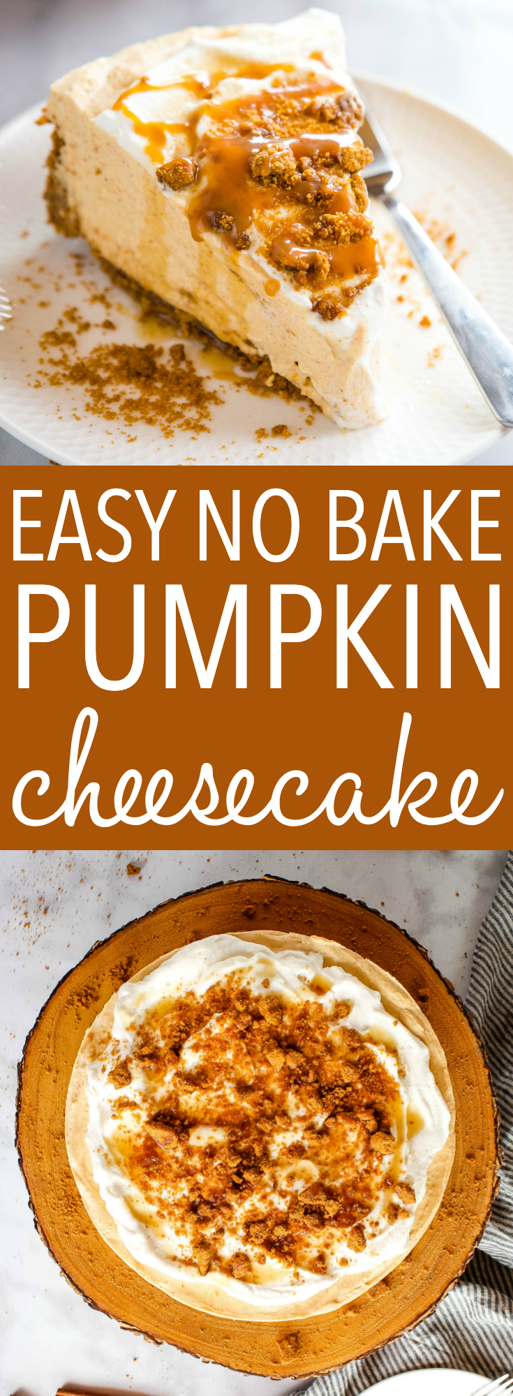 This Easy No Bake Pumpkin Cheesecake is the perfect easy-to-make fall cheesecake dessert that's ultra creamy, silky smooth and delicious and packed with pumpkin and spice! Recipe from thebusybaker.ca! #pumpkinspice #nobakecheesecake #pumpkincheesecake #dessert #fall #thanksgiving #easydessert #nobakedessert #harvest #pumpkin #sweet via @busybakerblog