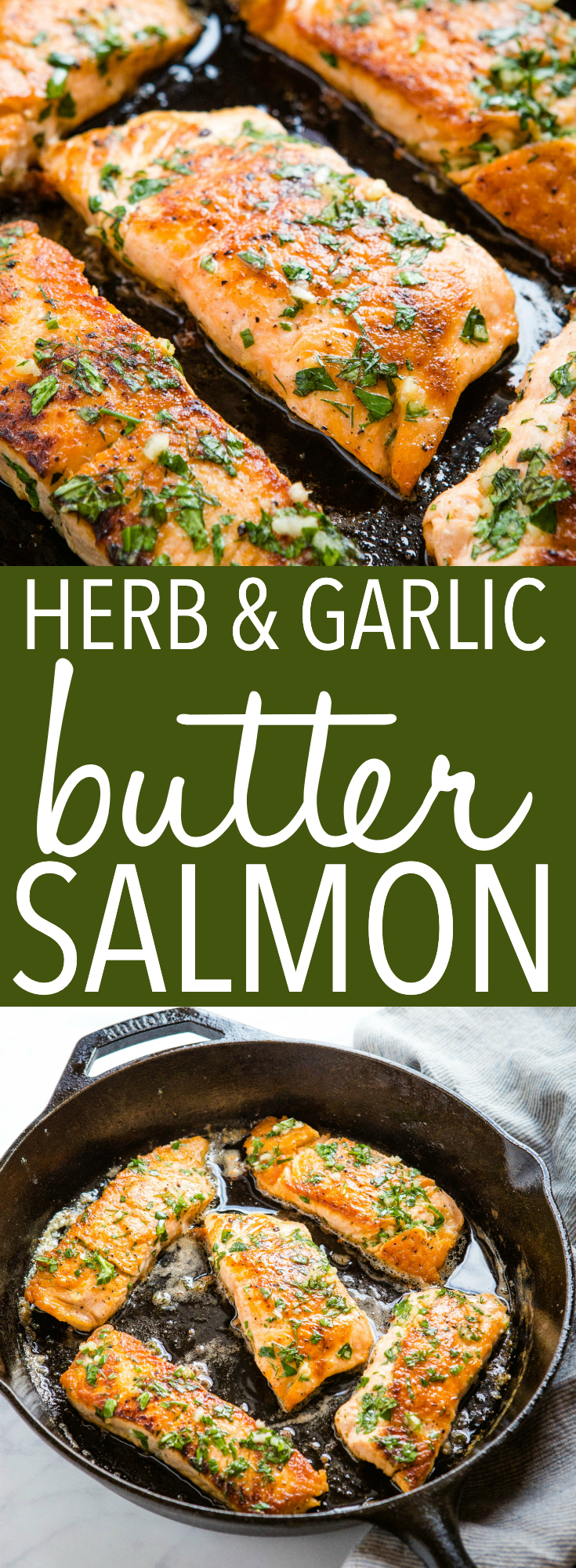 This One Pan Herb and Garlic Butter Salmon is low-carb, juicy and delicious! Pan-fried salmon with a simple herb and garlic butter sauce! Recipe from thebusybaker.ca! #lowcarb #salmon #recipe #garlic #butter #herbs #maindish #healthy #keto #easy #onepan via @busybakerblog