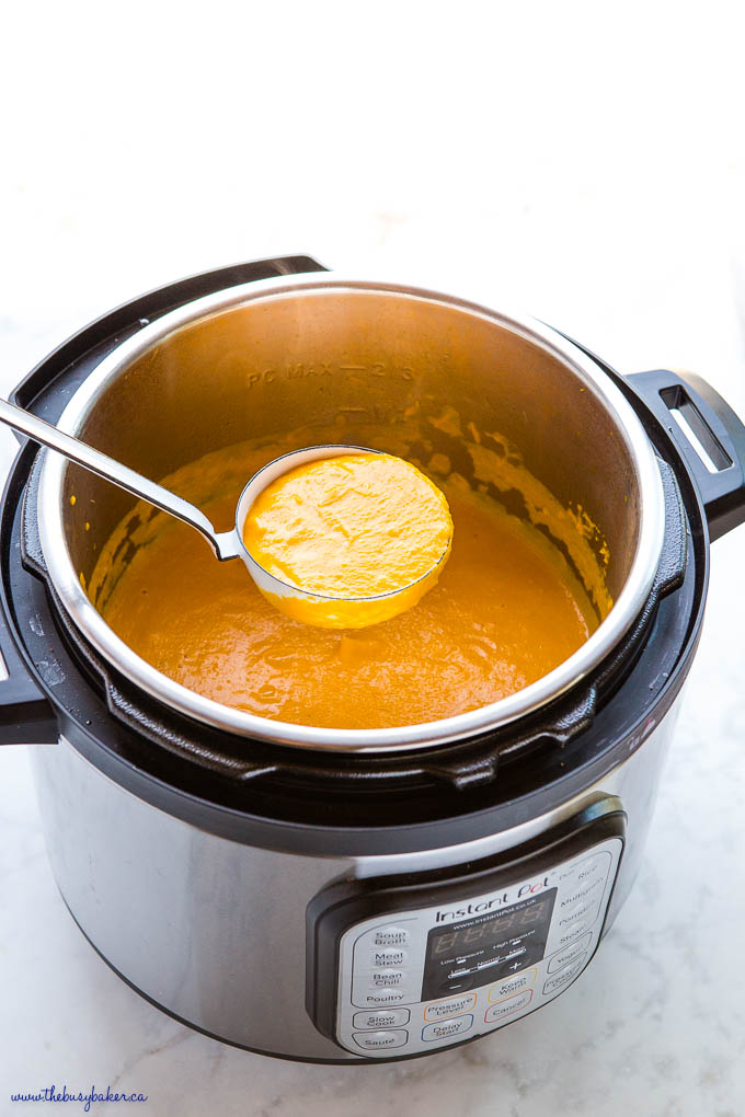 Instant Pot Carrot Ginger Soup with white ladle