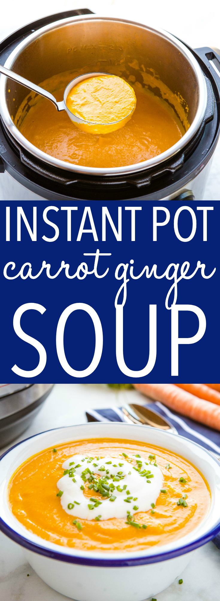 This Instant Pot Creamy Carrot Ginger Soup is warm, hearty, and flavoured with spicy ginger and creamy coconut. It's healthy, made with only a few ingredients, and it's so easy to make! Recipe from thebusybaker.ca! #carrotsoup #homemadesoup #instantpot #pressurecooker #easymeal #mealidea #mealprep #healthy #vegan #vegetarian via @busybakerblog