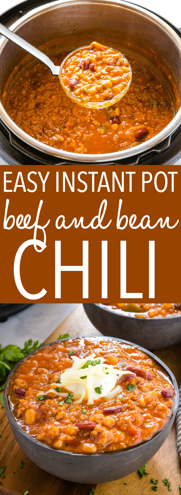This Instant Pot Beef and Bean Chili is hearty and filling, and packed with lean ground beef and beans! Ready in 30 minutes! Recipe from thebusybaker.ca! #chili #instantpotchili #chiliconcarne #beefandbeanchili #soup #stew #meal #dinner via @busybakerblog