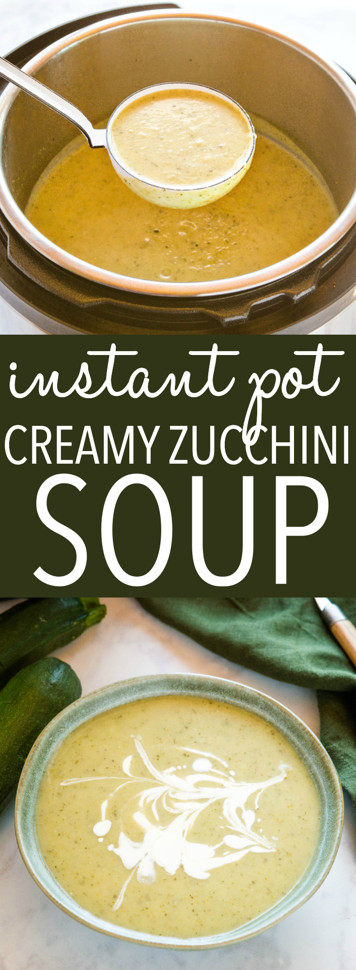This Instant Pot Creamy Zucchini Soup is a simple vegetarian soup recipe made with fresh zucchini and herbs (with a dairy-free and vegan option)! Ready in 25 minutes! Recipe from thebusybaker.ca! #recipe #zucchini #soup #instantpot #familymeal #pressurecooker #creamy #homemade #gardening via @busybakerblog