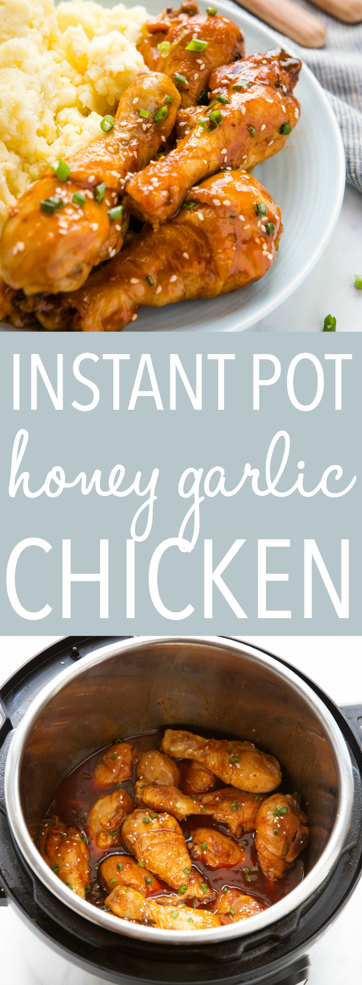 This Instant Pot Honey Garlic Chicken is the perfect quickand easy weeknight meal with a simple sweet sauce, made in the Instant Pot in less than 25 minutes! Recipe from thebusybaker.ca! #instantpot #honeygarlicchicken #instantpotchicken #familymeal #recipe #easymeal #weeknightmeal #honeygarlicsauce via @busybakerblog