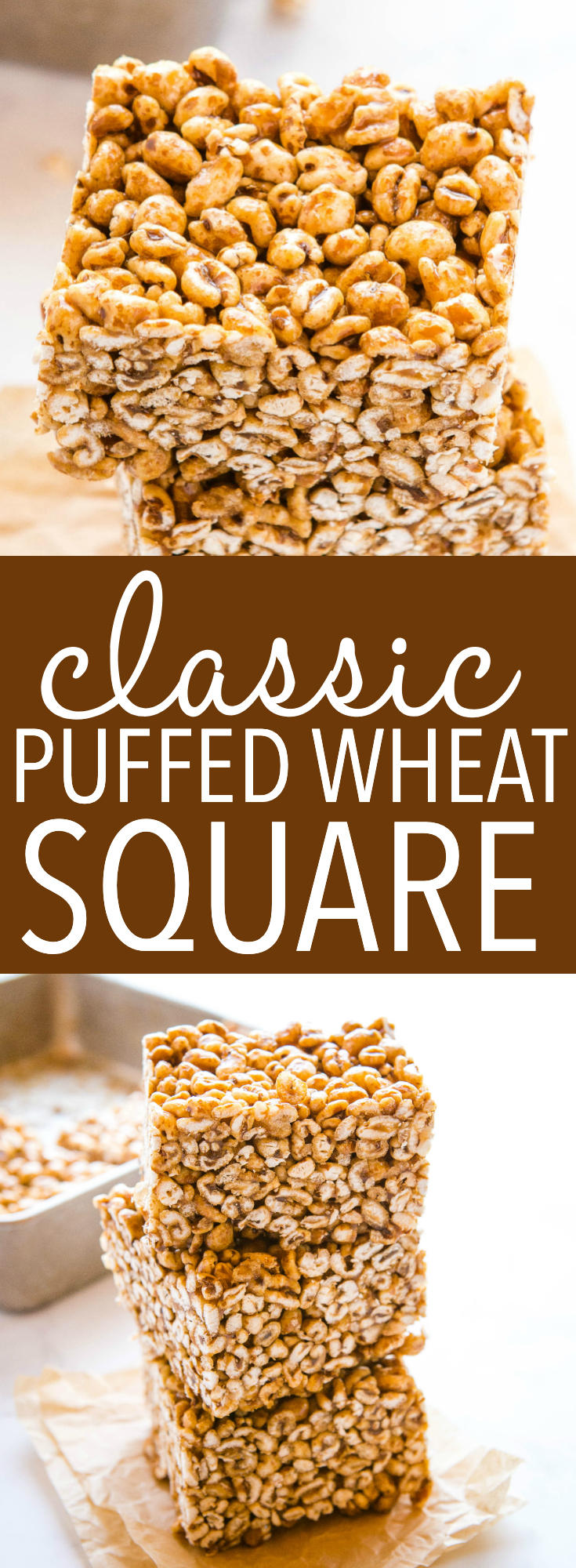 This Best Ever Puffed Wheat Square is a classic dessert recipe made with whole grain puffed wheat and a sticky caramel sauce. Perfect for dessert or an after-school treat! Recipe from thebusybaker.ca! #puffedwheat #caramel #treat #cake #square #baking #nobake #dessert #classic #afterschool #familyrecipe via @busybakerblog