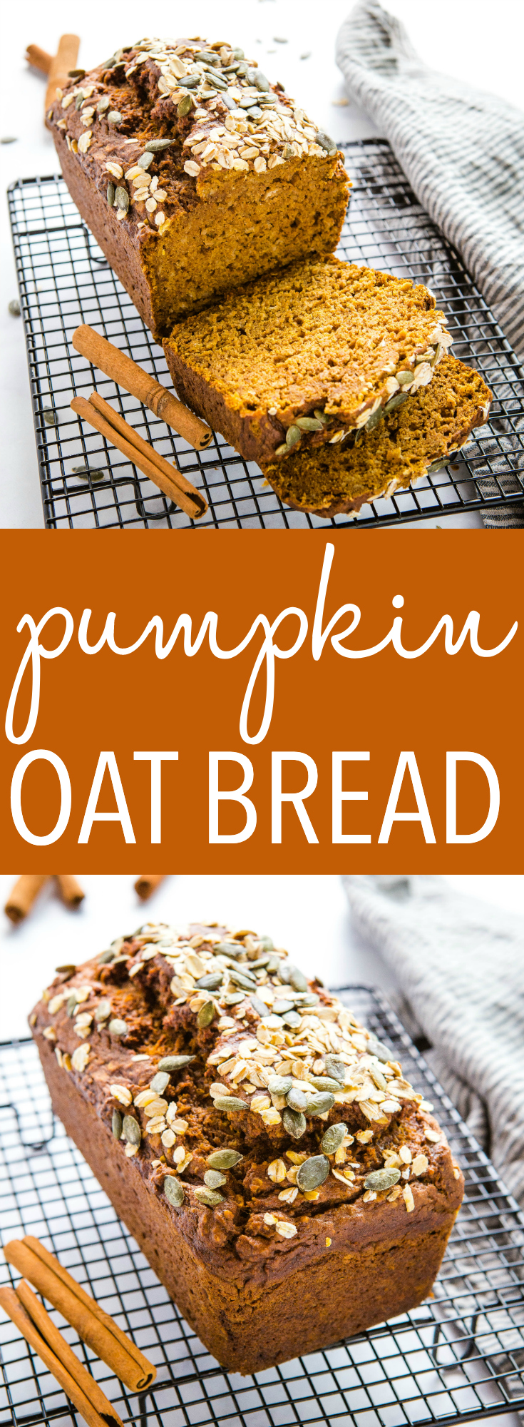 This Healthy Pumpkin Oat Bread is moist and delicious and packed with real pumpkin, applesauce, and whole grain oats! It's moist and delicious, and perfect for fall! Recipe from thebusybaker.ca! #pumpkin #oats #applesauce #healthy #baking #fall #harvest #homemade #homesteading #fallbaking #lowfat #highfibre via @busybakerblog