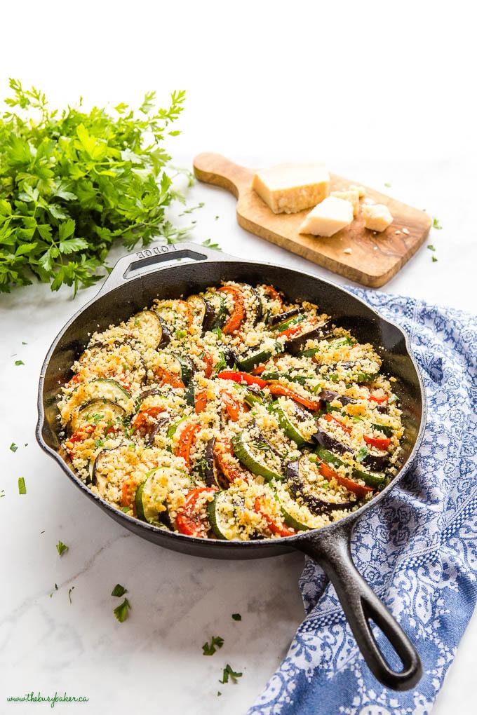 vegetable gratin in cast iron skillet