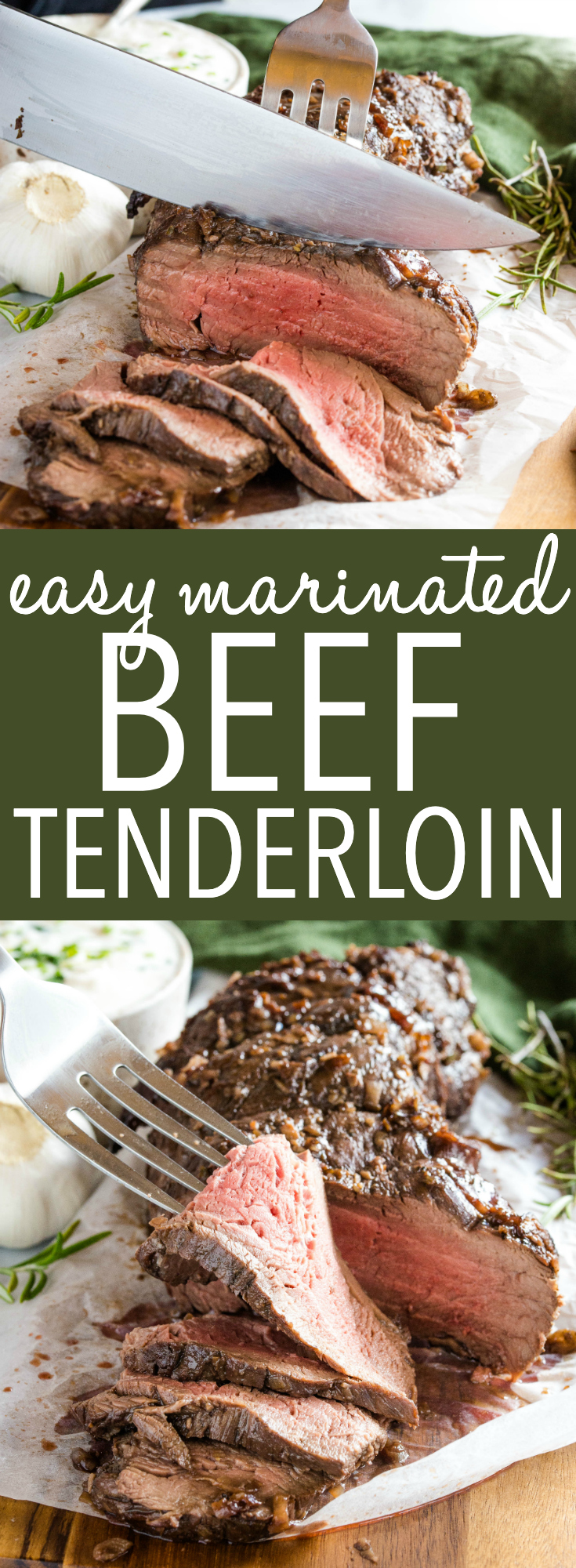 This Best Ever Marinated Beef Tenderloin is perfectly tender & juicy and packed with flavour - Easy to make with a simple marinade and great for the holidays served with horseradish sauce! Recipe from thebusybaker.ca! #holidays #beef #tenderloin #steak #horseradish #sauce #marinade #marinated #meat #roasted #christmas #holidays #newyears #celebration via @busybakerblog