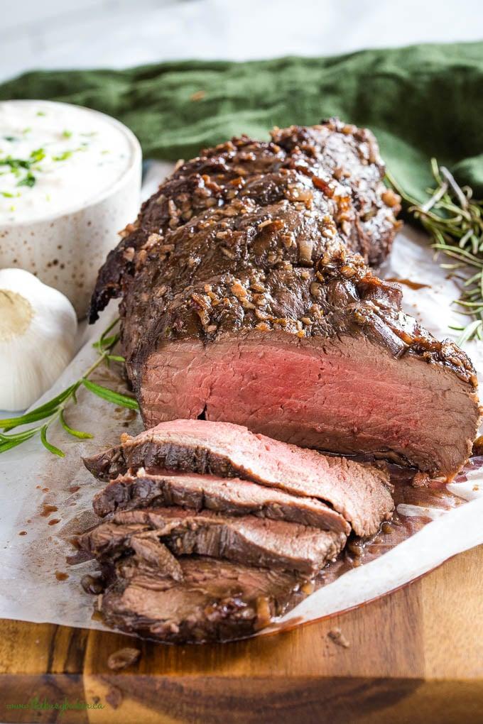 Beef Tenderloin, pink inside with garlic and horseradish sauce