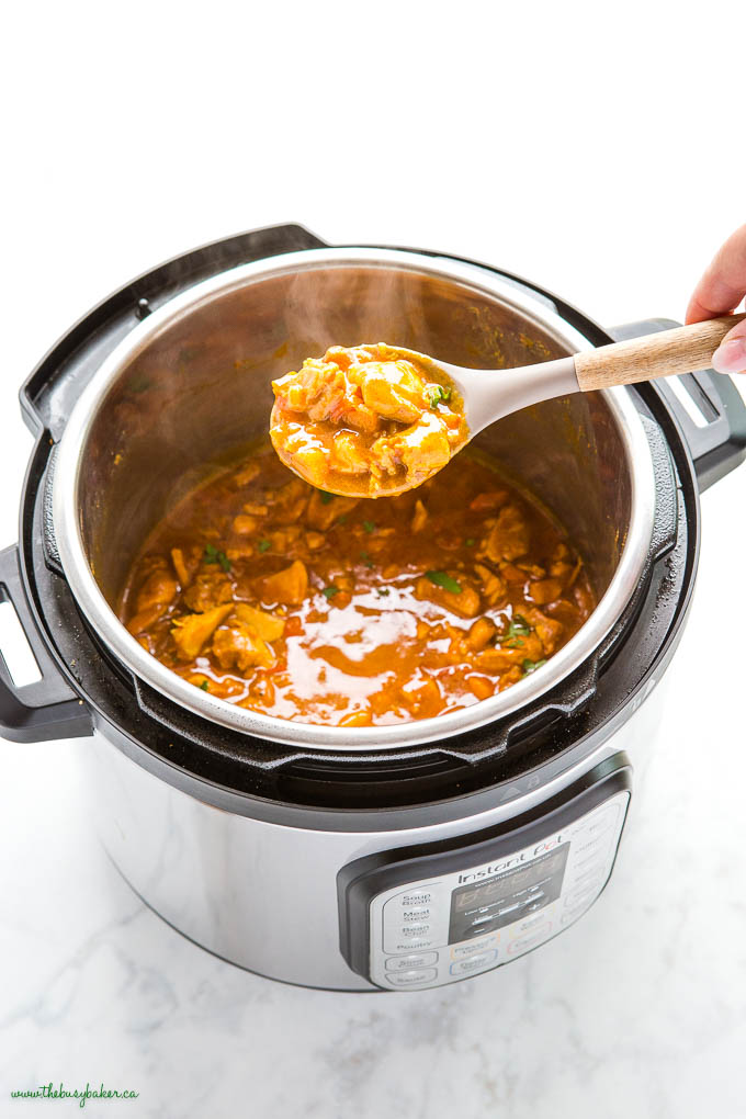 spoonful of butter chicken in the Instant Pot