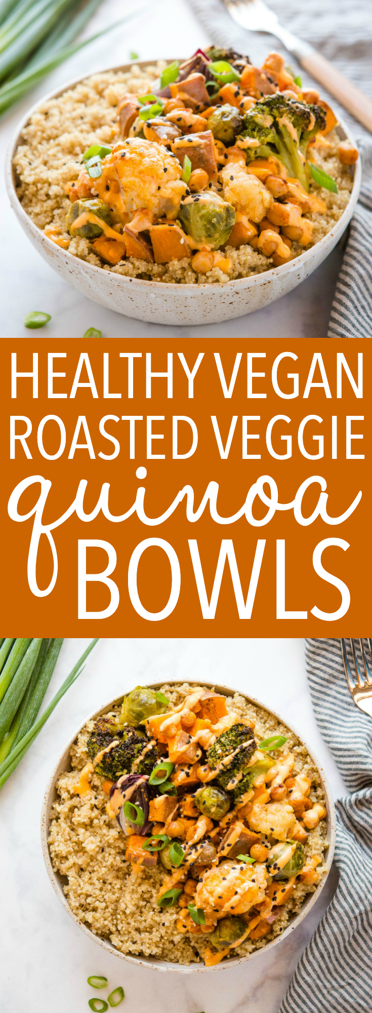 These Roasted Vegetable Quinoa Bowls are the perfect healthy lunch or dinner recipe that's great for meal prep! Make it vegetarian or vegan! Recipe from thebusybaker.ca! #quinoa #bowls #lunch #vegan #vegetarian #plantbased #protein #health #weightloss #healthyeating #vegetables #sweetpotato #mealprep via @busybakerblog