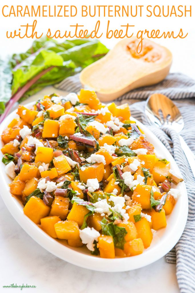 Caramelized Butternut Squash with Sautéed Beet Greens