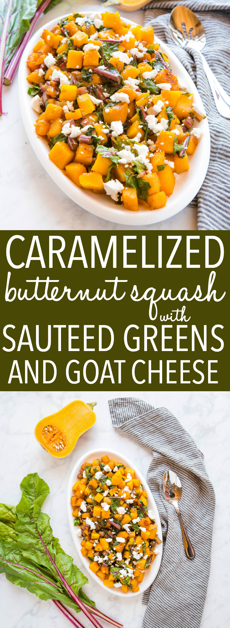 This Caramelized Butternut Squash with Sautéed Greens is the perfect ultra healthy side dish for Thanksgiving or Christmas made with sweet squash, fresh greens, maple syrup and goat cheese! Recipe from thebusybaker.ca! #butternutsquash #sidedish #vegetarian #healthy #naturalfoods #holiday #Christmas #Thanksgiving via @busybakerblog
