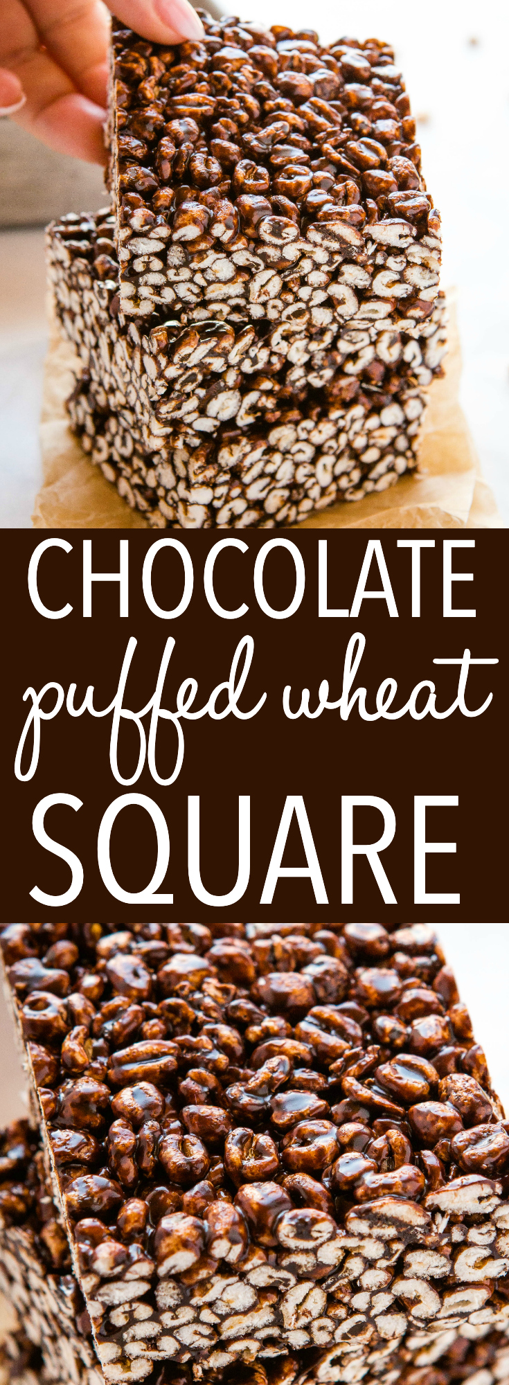 This Chocolate Puffed Wheat Square is a classic dessert recipe made with whole grain puffed wheat and a sticky chocolate sauce. Perfect for dessert or a treat, and made with only 6 ingredients! Recipe from thebusybaker.ca! #puffedwheatsquare #cake #chocolate #caramel #nobake #dessert via @busybakerblog