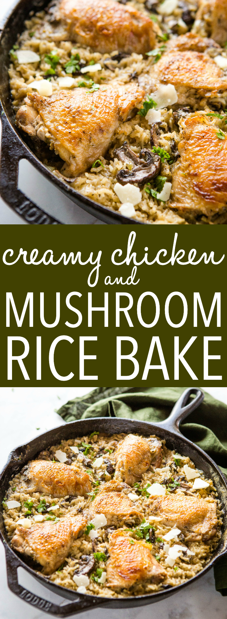 This Easy One Pan Creamy Chicken and Mushroom Rice Bake is the perfect super easy weeknight dinner with crispy chicken and creamy mushroom rice with Parmesan cheese! It's family-friendly and on the table in 45 minutes or less! Recipe from thebusybaker.ca! #parmesan #rice #chicken #crispy #creamyrice #casserole #ricebake #familymeal #easymeal #weeknightmeal #mealplan #mealprep via @busybakerblog