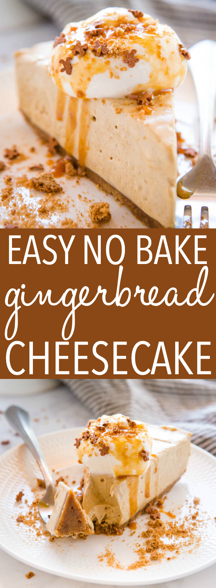 This Easy No Bake Gingerbread Cheesecake is the perfect easy-to-make holiday cheesecake dessert that's creamy, smooth and delicious made with ginger and warm spices, with a gingerbread crust! Recipe from thebusybaker.ca! #cheesecake #gingerbread #christmas #holiday #dessert #entertaining #nobakedessert via @busybakerblog