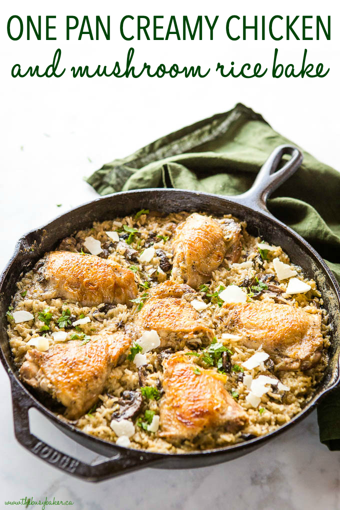 Easy One Pan Creamy Chicken and Mushroom Rice Bake