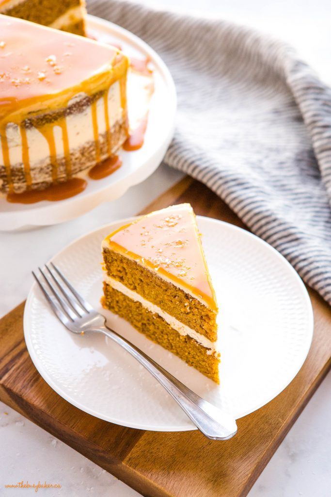 pumpkin cake with salted caramel frosting and flaky sea salt