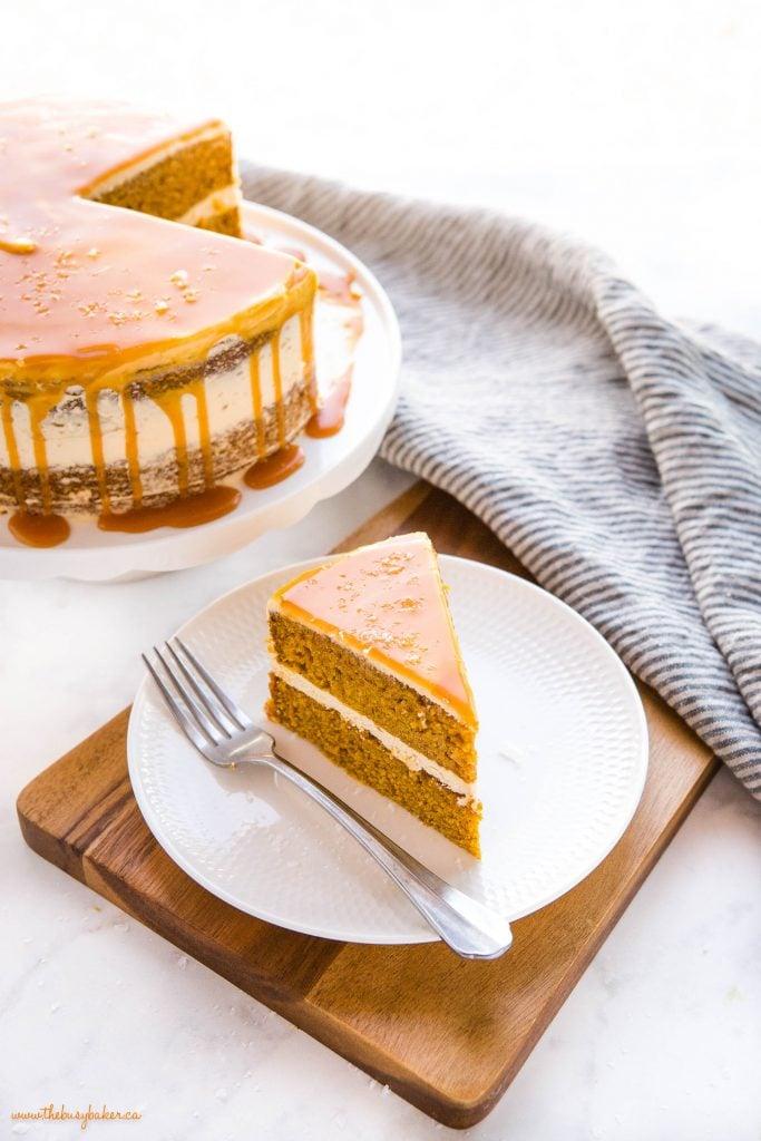 slice of pumpkin cake with salted caramel frosting