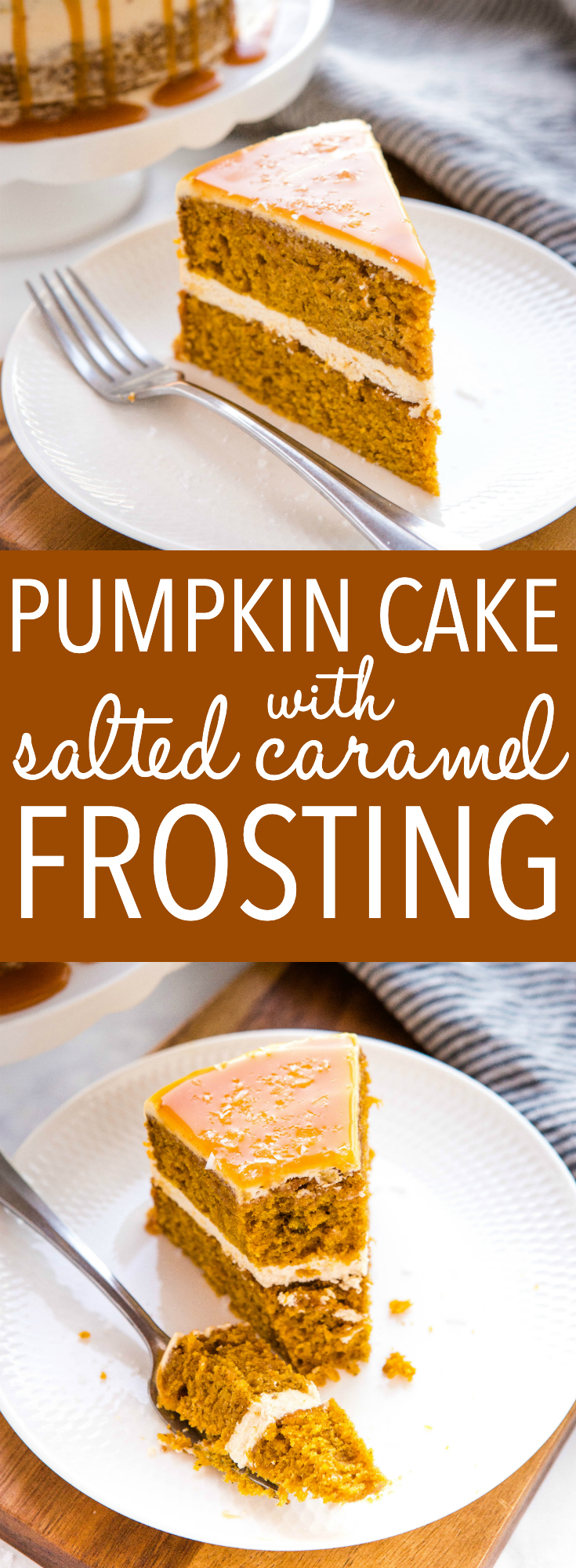 This Easy Pumpkin Cake with Salted Caramel Frosting is the perfect easy fall or winter dessert! An easy one-bowl pumpkin cake batter and a simple salted caramel buttercream frosting, this cake is moist and flavourful and topped with sweet caramel sauce and flaky sea salt. Recipe from thebusybaker.ca #cake #pumpkin #layercake #saltedcaramel #buttercream #frosting #homemade #celebration #dessert #thanksgiving via @busybakerblog