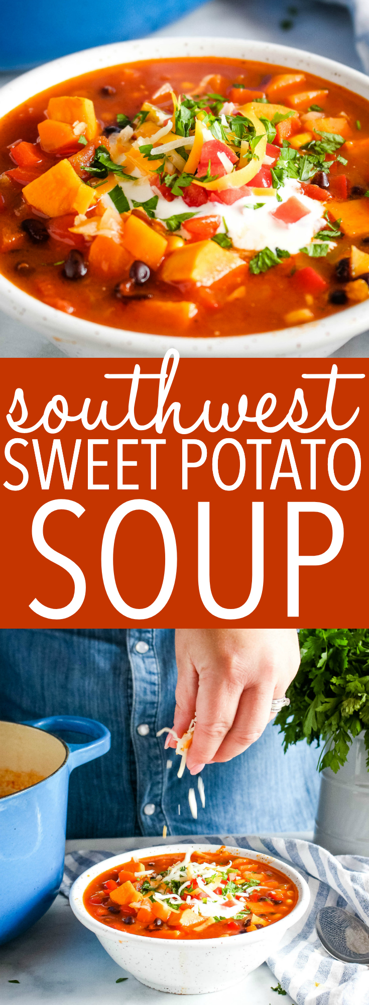 This Easy Southwest Sweet Potato Soup is an easy hearty and filling soup, made Tex-Mex style with sweet potatoes, black beans and tomatoes and topped with sour cream, shredded cheese and cilantro! Can be made vegetarian or vegan! Recipe from thebusybaker.ca! #recipe #soup #southwest #texmex #mexican #tortilla #burrito #healthy #vegan #vegetarian #familymeal #mealprep #mealplanning via @busybakerblog