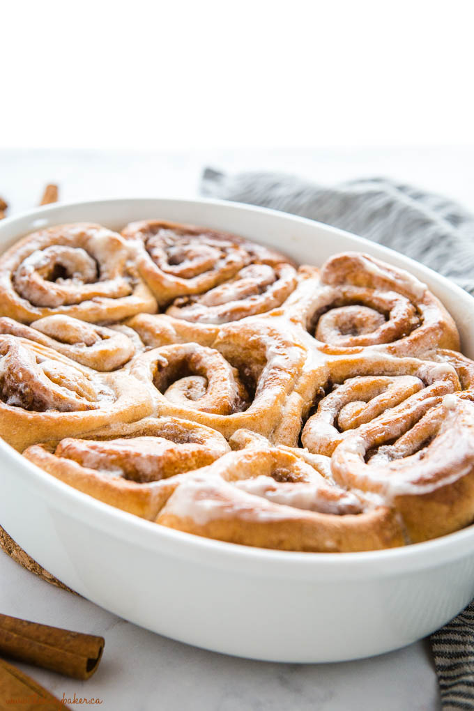 whole wheat cinnamon rolls with a glaze